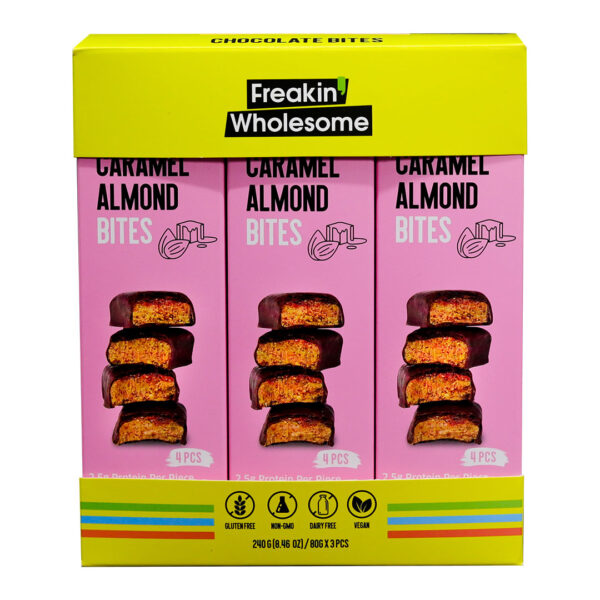 Freakin' Wholesome Chocolate Covered CARAMEL Almond Bites, 2.82 Ounces per box. (Pack of 3). Gluten Free, Vegan